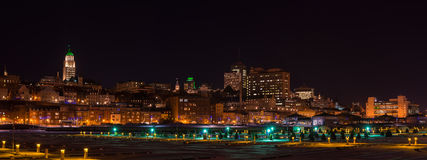 Panorama of Québec city at night in the winter Stock Photo
