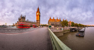 Panorama of Queen Elizabeth Clock Tower and Westminster Palace Stock Photo