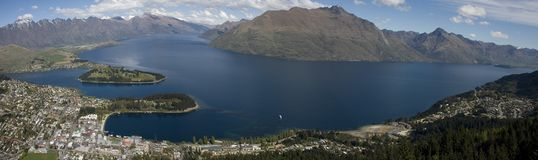 panorama queenstown Arkivbilder