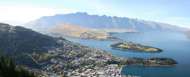 Panorama - Queenstown, New Zealand. Queenstown on the river bank stock photography