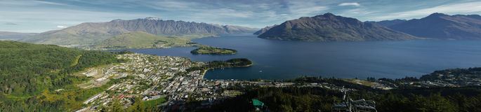 Panorama of Queenstown, New Zealand Royalty Free Stock Images