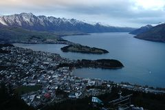 Panorama of Queenstown NZ royalty free stock images