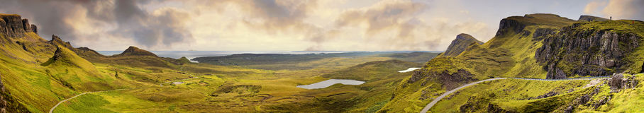 Panorama of the Quiraing mountain range. Ilse of Skye, Inner Hebrides, Scotland Stock Photos
