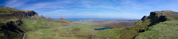 Panorama of the Quiraing mountains Royalty Free Stock Photo