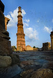 Panorama Qutub Minar New Delhi India Royalty-vrije Stock Foto