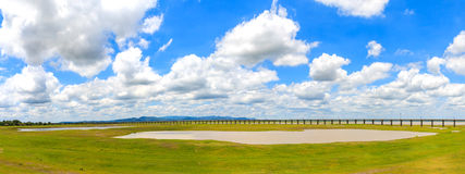 Panorama of railway with green field and blue sky landscape. Stock Photo