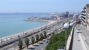 Panorama railway and sea. Panorama overlooking the road along the sea, Sea view stock video