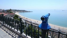 Panorama railway and sea. Panorama overlooking the road along the sea, Sea view stock footage