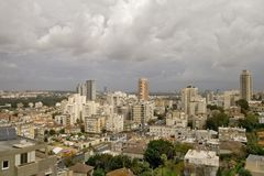 Panorama before a rain. In the morning before a rain the city of Tel Aviv, Israel wakes up Stock Image