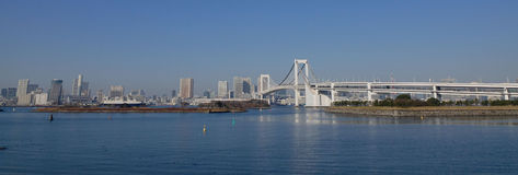 Panorama of Rainbow bridge in Tokyo, Japan Royalty Free Stock Photos