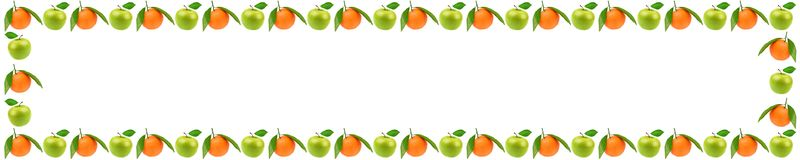 Panorama- ram av ny frukt med äpplen och orange nolla arkivfoto