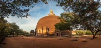 Panorama of Rankot Vihara Golden Pinnacle Dagoba, Polonanaruwa Royalty Free Stock Photography