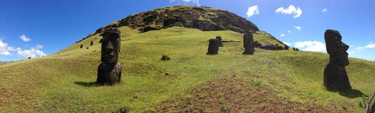 Panorama from Rano Raraku Moai Factory Royalty Free Stock Images