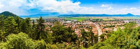 Panorama of Rasnov in Transylvania, Romania royalty free stock photos