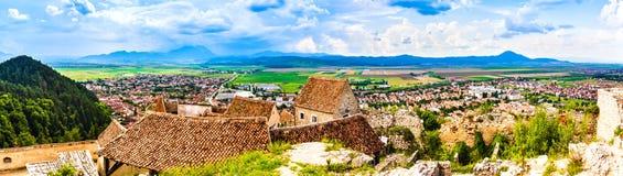 Panorama of Rasnov in Transylvania, Romania stock image