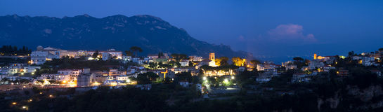 Panorama of Ravello during the blue hour Royalty Free Stock Photos