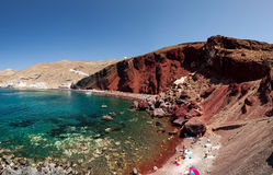 Panorama of the red beach. Santorini Greece Royalty Free Stock Photos