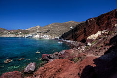 Panorama of the red beach. Santorini Stock Photography