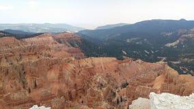 Cedar Breaks - National Monument Pano. A panorama of the red canyons of Cedar Breaks National Monument near Brian Head, Utah, USA royalty free stock photo