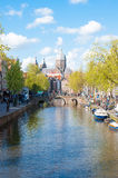 Panorama of Red light district, the dome of the Church of St. Nicholas is visible in the distance, the Netherlands. Royalty Free Stock Image