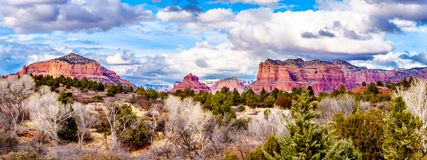 Panorama of the Red Rock Mountains around the city of Sedona, Arizona. Panorama of the Red Rock Mountains around the city of Sedona in Northern Arizona in royalty free stock images