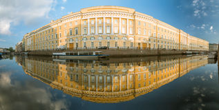 Panorama of the reflection of the old house in the river Moika i. N St. Petersburg Stock Photo
