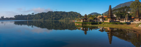 Panorama Reflection of a Pura in Bali stock photos