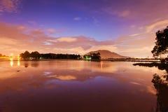 Panorama reflection sunrise in Bukit Mertajam Penang Stock Photography