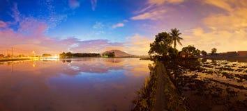 Panorama reflection sunrise in Bukit Mertajam Penang Royalty Free Stock Image