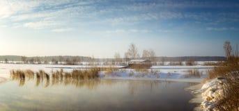 Panorama Reftinskaya-Reservoir im Winter, Russland, Ural lizenzfreie stockfotografie