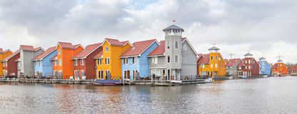Panorama of Reitdiephaven, Groningen. Panorama of Reitdiephaven in Groningen, Netherlands Royalty Free Stock Photo