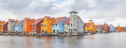 Panorama of Reitdiephaven, Groningen Royalty Free Stock Photo