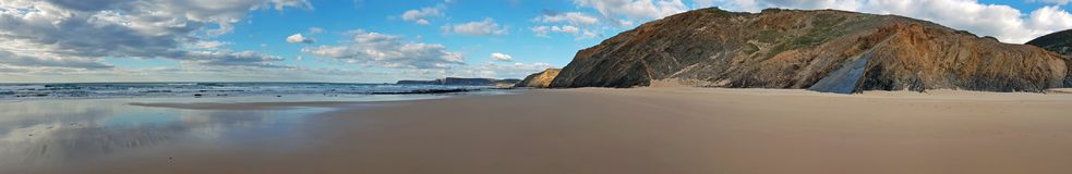Panorama from a remote beach at praia Vale Figueiras in Portugal. Europe Stock Images