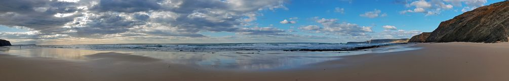 Panorama from a remote beach at praia Vale Figueiras in Portugal. Europe Royalty Free Stock Image