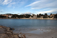 Beach of Renecro in Bandol in french riviera, France. Panorama of Renecro beach in Bandol village, in french riviera, France Stock Images