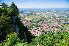 Panorama of Republic of San Marino and Italy from Monte Titano, City of San Marino. City of San Marino is capital city of Republic Stock Images