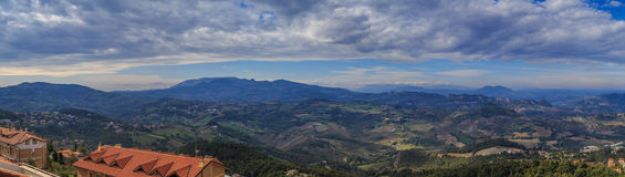 Panorama of Republic of San Marino and Italy from Monte Titano. City of San Marino. City of San Marino is capital city of Republic of San Marino located on Royalty Free Stock Image