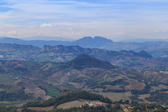 Panorama of Republic of San Marino and Italy from Monte Titano. City of San Marino. City of San Marino is capital city of Republic of San Marino located on Stock Images