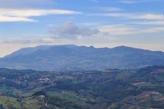 Panorama of Republic of San Marino and Italy from Monte Titano. City of San Marino. City of San Marino is capital city of Republic of San Marino located on Stock Photo