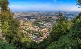 Panorama of Republic of San Marino and Italy from Monte Titano, City of San Marino. City of San Marino is capital city of Republic of San Marino located on Royalty Free Stock Photo