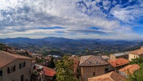 Panorama of Republic of San Marino and Italy from Monte Titano, City of San Marino. City of San Marino is capital city of Republic of San Marino located on Stock Photos