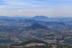Panorama republika San Marino i Włochy od Monte Titano Obrazy Stock