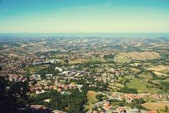 Panorama republika San Marino i Włochy od Monte Titano, Fotografia Royalty Free