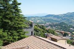 Panorama republika San Marino i Włochy od Monte Titano, Obraz Stock