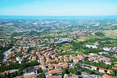 Panorama republika San Marino i Włochy od Monte Titano, Fotografia Stock