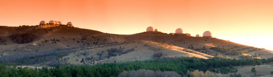 Panorama of research center on Mars. (abstract photo Stock Image