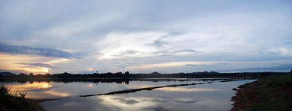 Panorama of Reservoir in Ratcha Buri Thailand. A reservoir is a natural or artificial lake, storage pond, or impoundment from a dam which is used to store water Royalty Free Stock Photo