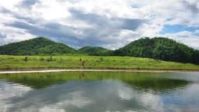Panorama reservoir. Triple mountains in the reservoir Stock Photos