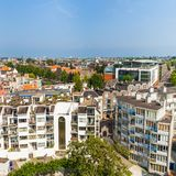 Panorama of residential areas in Amsterdam. Aerial view. Holland, Netherlands. Royalty Free Stock Images