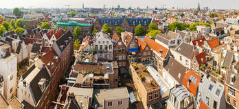 Panorama of residential areas in Amsterdam. Aerial view. Holland, Netherlands. Royalty Free Stock Photo